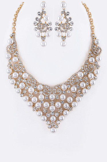 Carlota Golden Pearl & Crystal Statement Earrings & Necklace