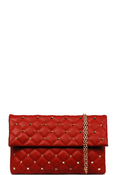 Marjory Red Gold Studded Crossbody Clutch Bag