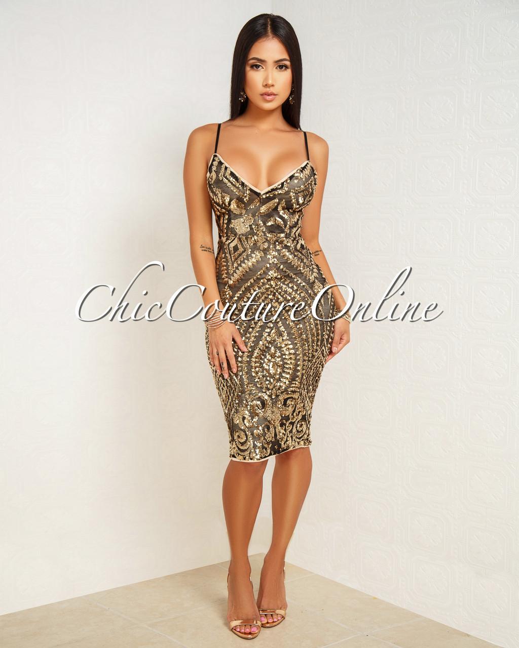 75de14e9e279 Santorina Black Gold Sequins Nude Illusion Midi Dress