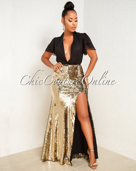 Charnelle Gold Sequins Slit Maxi Skirt