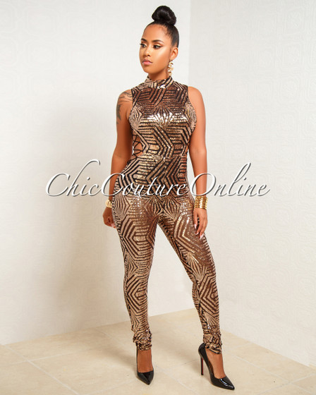 Fabrizia Black Rose Gold Sequins Lace Up Sides Jumpsuit