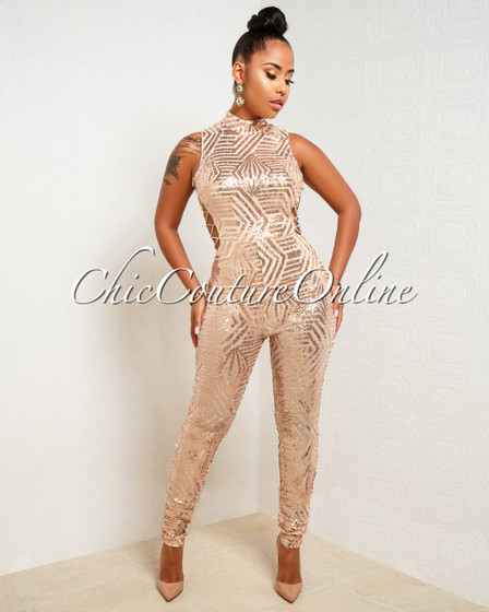 Fabrizia Nude Rose Gold Sequins Lace Up Sides Jumpsuit