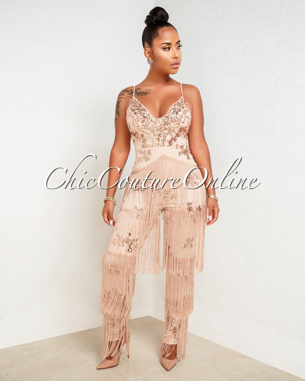 c5d46282e11db Niaz Nude Rose Gold Sequin Fringe Embellished Jumpsuit