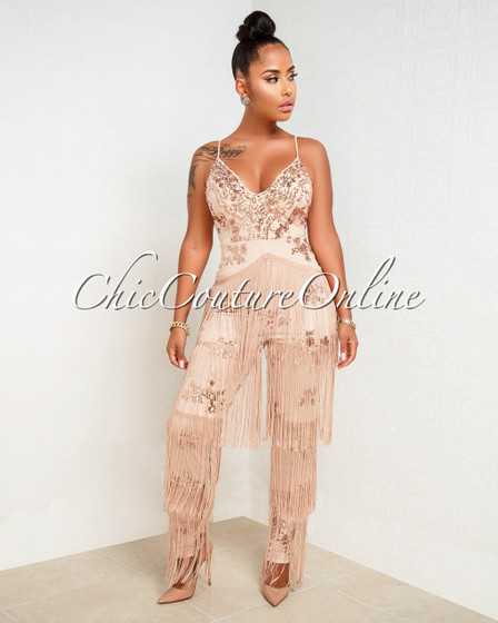 Niaz Nude Rose Gold Sequin Fringe Embellished Jumpsuit