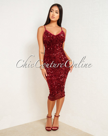 Venetti Wine Red Velvet Sequins Midi Dress