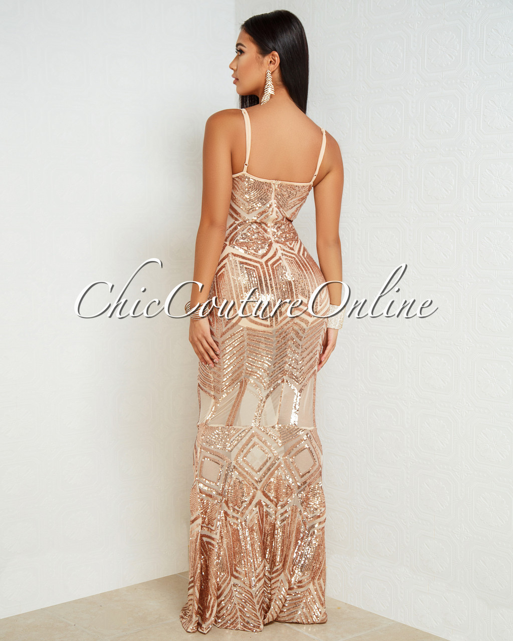 cbfe7464247 Catrina Nude Rose Gold Sequins Mesh Maxi Dress. Price   100.00. Image 1.  Larger   More Photos
