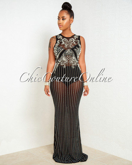Cannes Black Iridescent Rhinestone Pearl Accent Maxi Dress