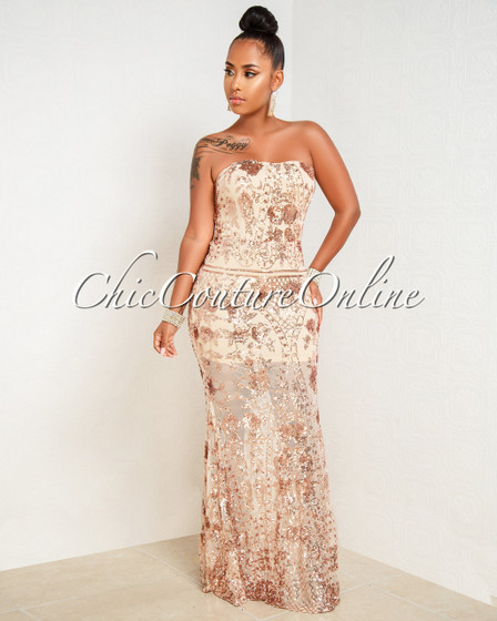 Marica Nude Rose Gold Sequins Mesh Strapless Dress