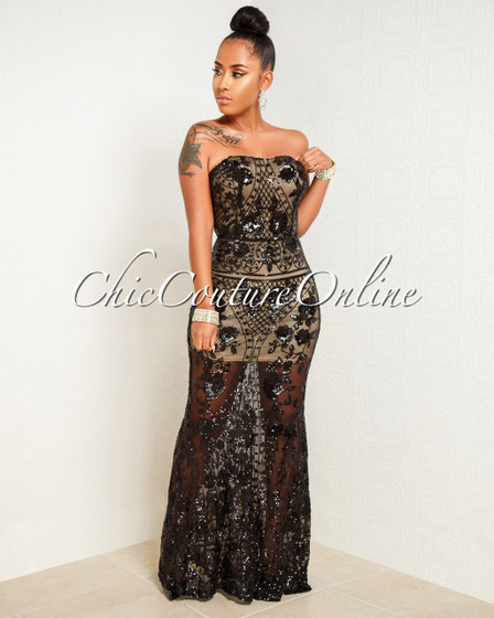 Marica Black Nude Illusion Sequins Mesh Strapless Dress