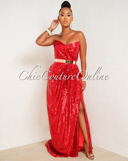 Tanisha Red Sequins Draped Strapless Front Slit Gown