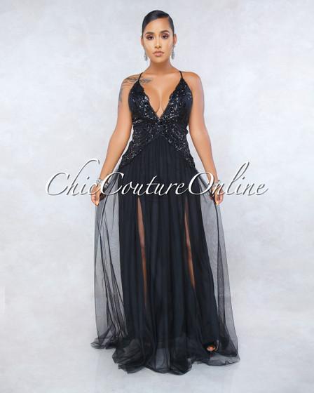 Farida Black Sequins Scallop Tulle Maxi Dress