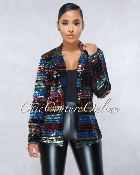Catia Black Multi-Color Stripes Sequins Trench Luxe Jacket