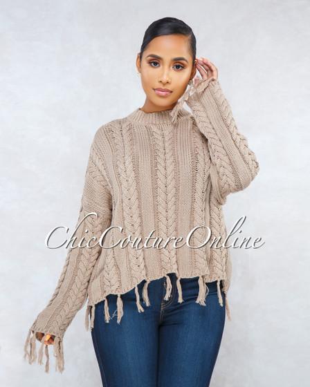 Ibiza Mocha Cable Knit Fringe Long Sleeves Sweater
