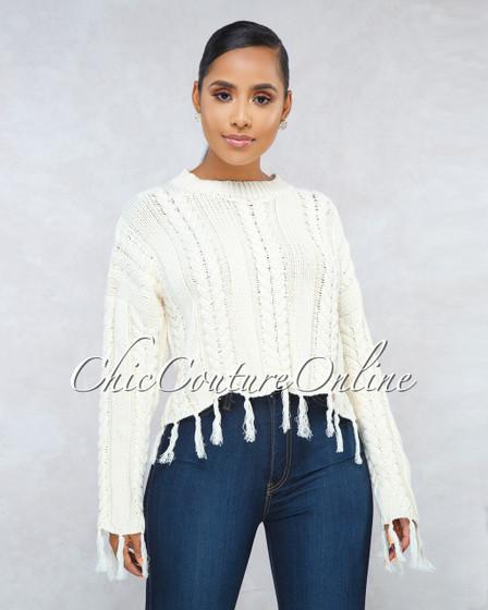 Ibiza Ivory Cable Knit Fringe Long Sleeves Sweater