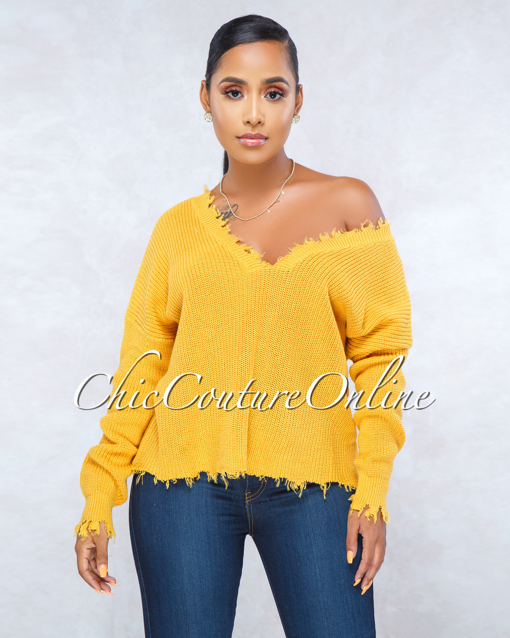 fe65739c9af Adalina Mustard Yellow Oversized Knit Sweater. Price   55.00. Image 1
