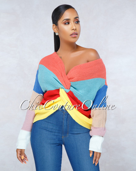 Matisse Multi-Color Stripes Knot Detail Sweater