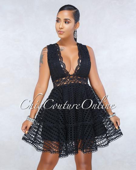 Chaser Black Crochet Overlay Ruffle Skater Dress
