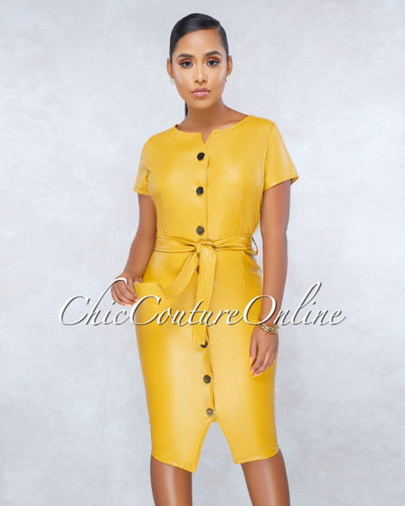 Garance Mustard Yellow Faux Leather Gold Buttons Midi Dress