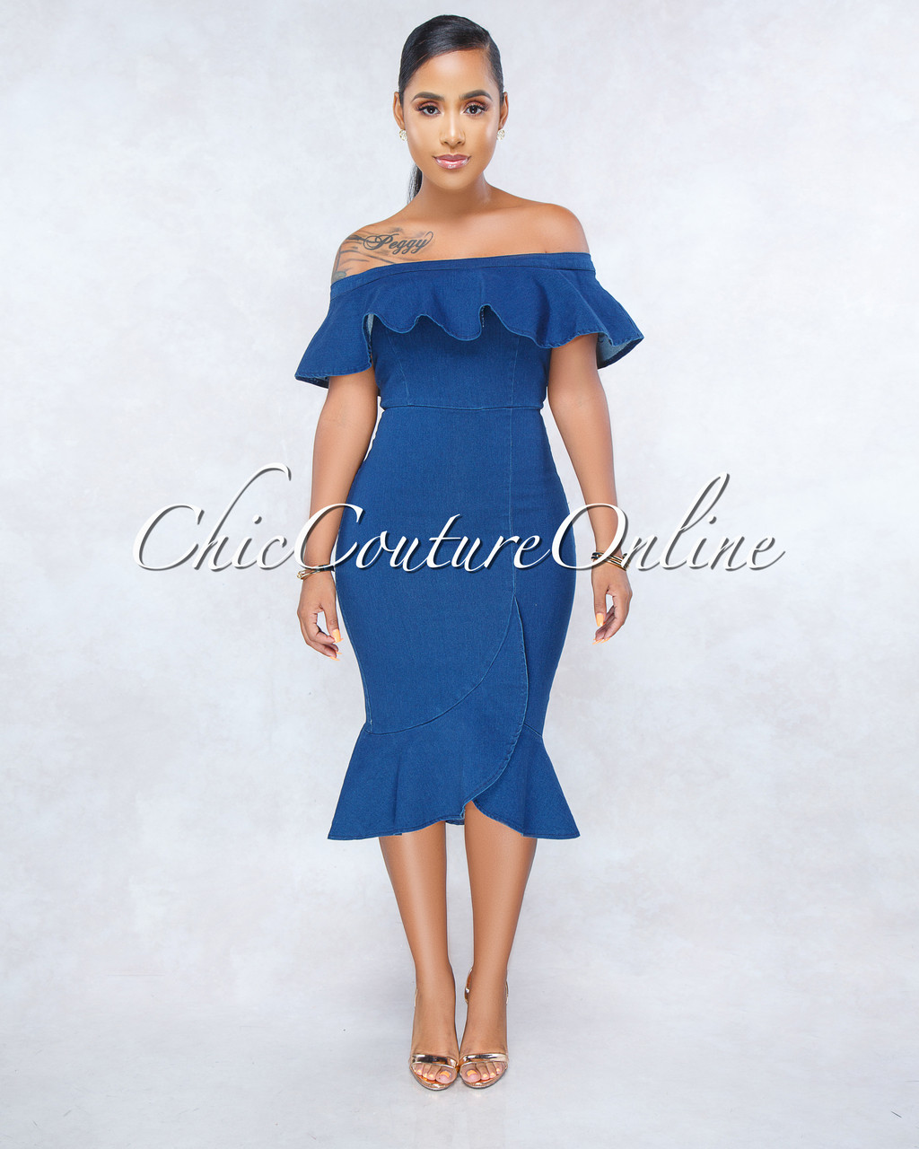 976bf66c36 Virginia Blue Ruffle Denim Off-The Shoulders Flutter Dress