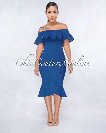 Virginia Blue Ruffle Denim Off-The Shoulders Flutter Dress