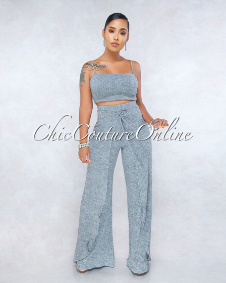 Essie Heather Gray Ribbed Overlay Pants Two Piece Set