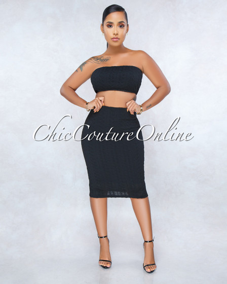 Cayenne Black Cable Knit Two Piece Set