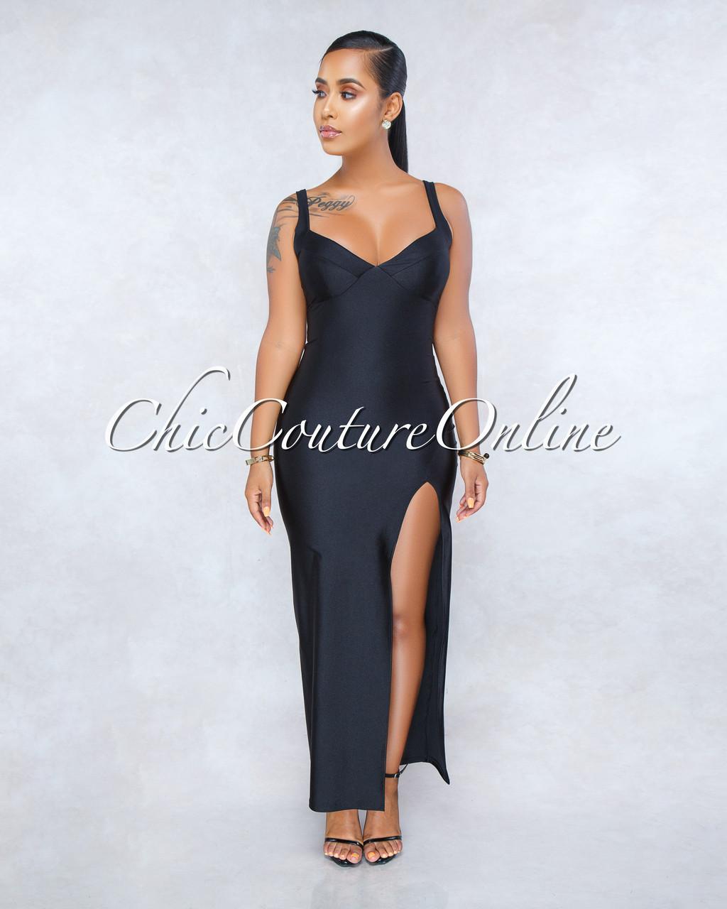 21391e522b724 Breena Black Satin Front Slit Padded Maxi Dress. Price: $50.00. Image 1