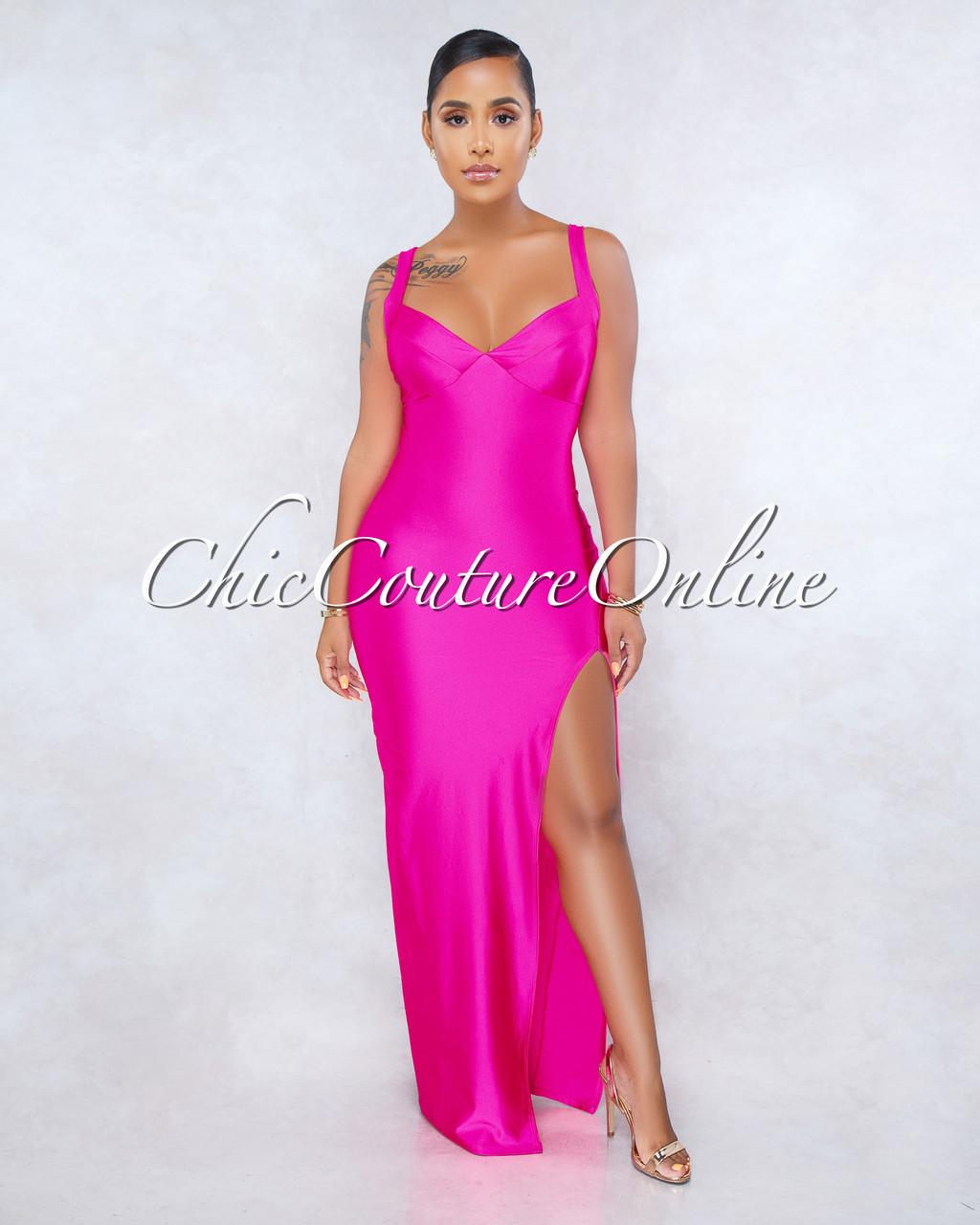 eca523dba10cc ... Front Slit Padded Maxi Dress. Price: $50.00. Image 1