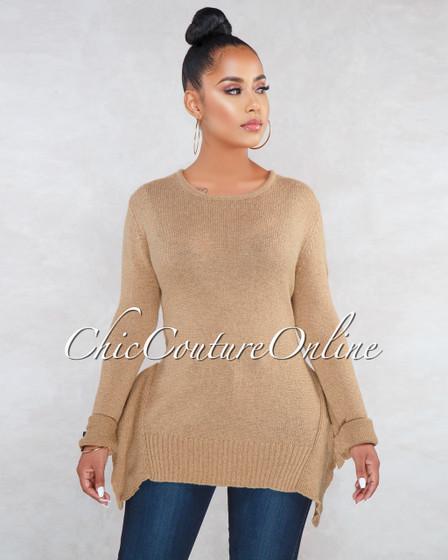 Sadler Tan Ruffle Details Long Sleeves Sweater