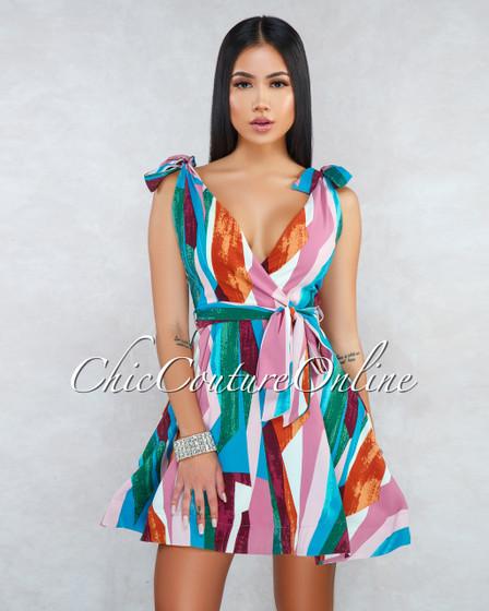 Dritta Pink Multi-Color Print Skater Dress