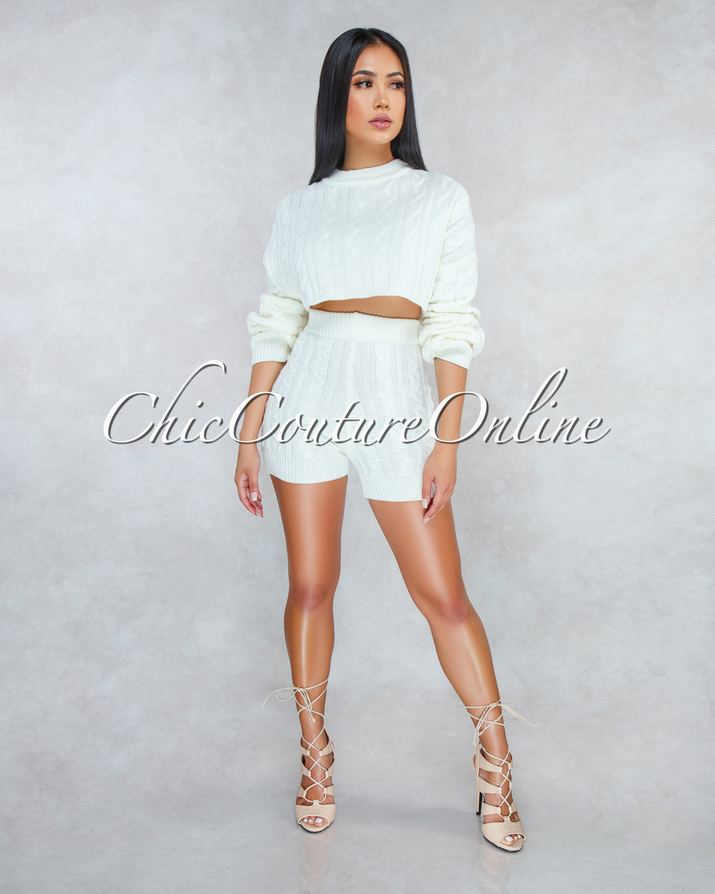 0777ad0f2 Samera Ivory Cable Knit Sweater Shorts Two Piece Set. Price   60.00. Image  1. Larger   More Photos
