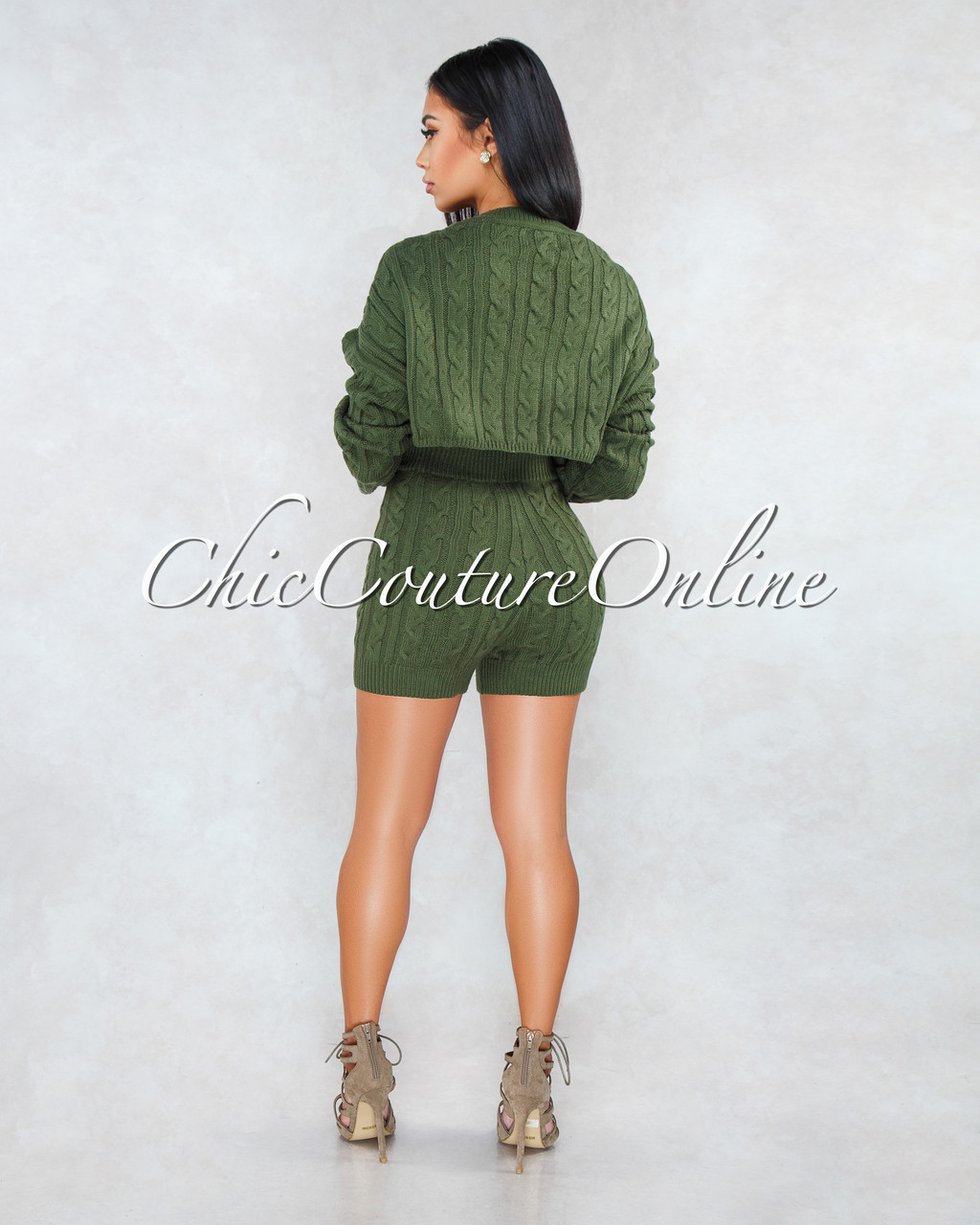 b94d78fd4 Samera Military Green Cable Knit Sweater Shorts Two Piece Set. Price    60.00. Image 1. Larger   More Photos