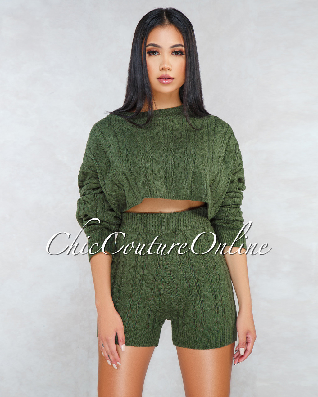 51723c3e7 Samera Military Green Cable Knit Sweater Shorts Two Piece Set. Price    60.00. Image 1