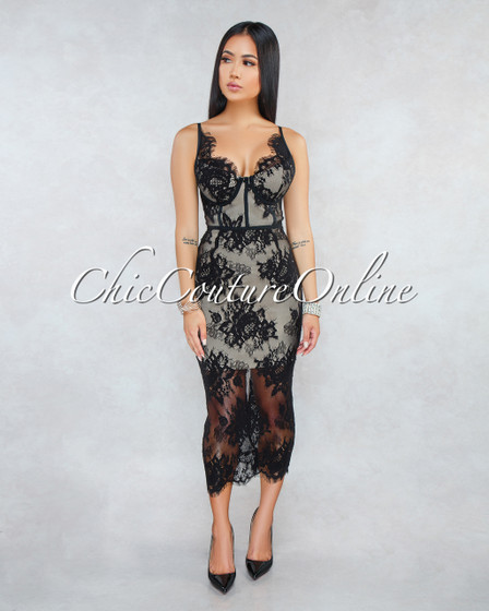 Cayana Black Lace Nude Overlay Midi Bandage Dress