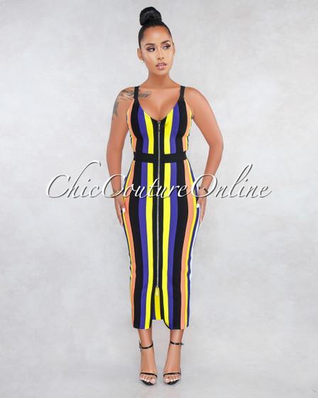 Rashida Multi-Color Stripes Bandage Midi Dress
