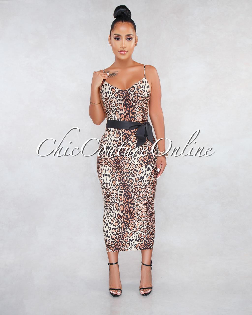 25c802a369 Betania Leopard Print Black Belt Midi Dress