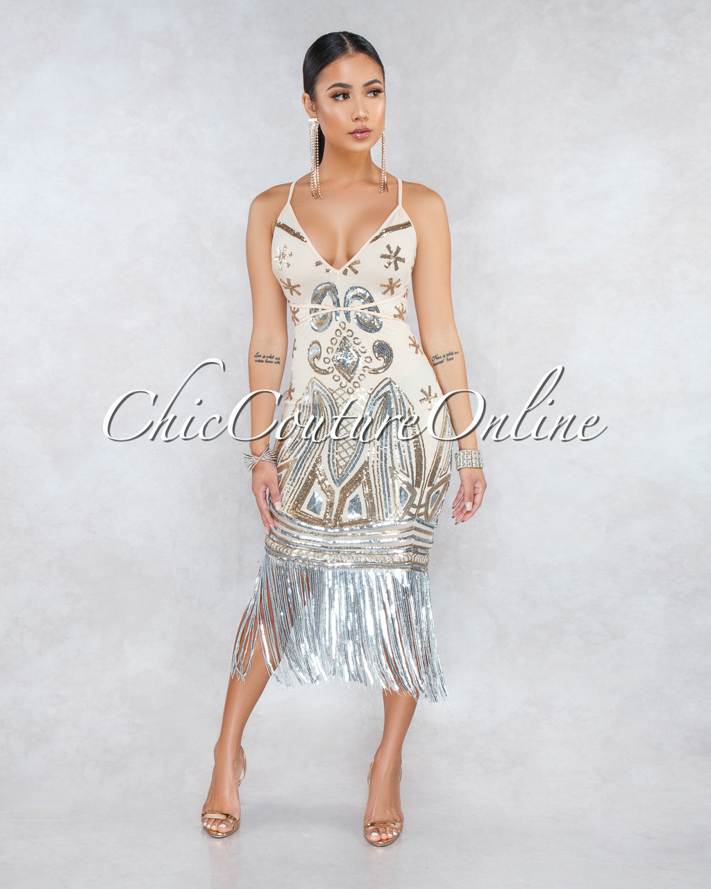 44d263e3cd8e2 Laetitia Nude Silver Gold Sequins Fringe Dress