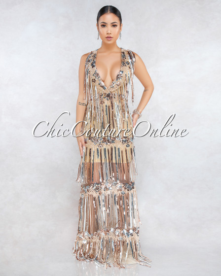 Teela Nude Rose Gold Silver Sequins Fringe Maxi Dress