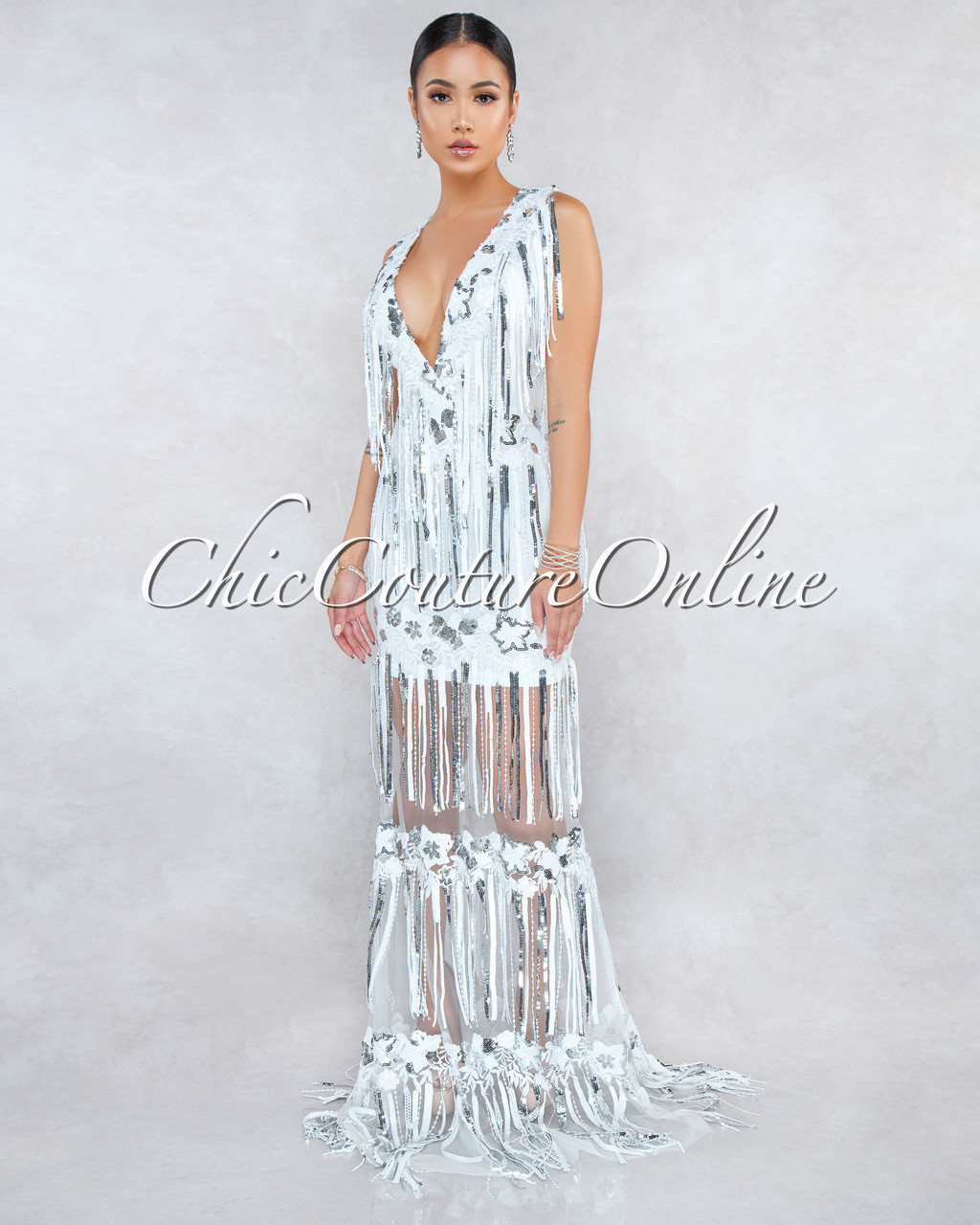 e86521df Teela Off-White Silver Sequins Fringe Maxi Dress
