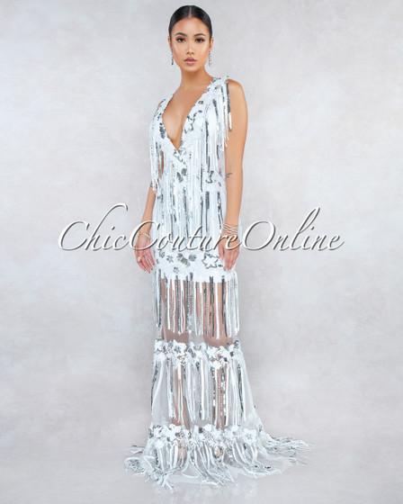 Teela Off-White Silver Sequins Fringe Maxi Dress