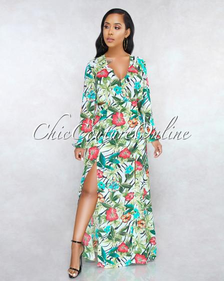 Kamara Off-White Floral Print Open Back Maxi Dress