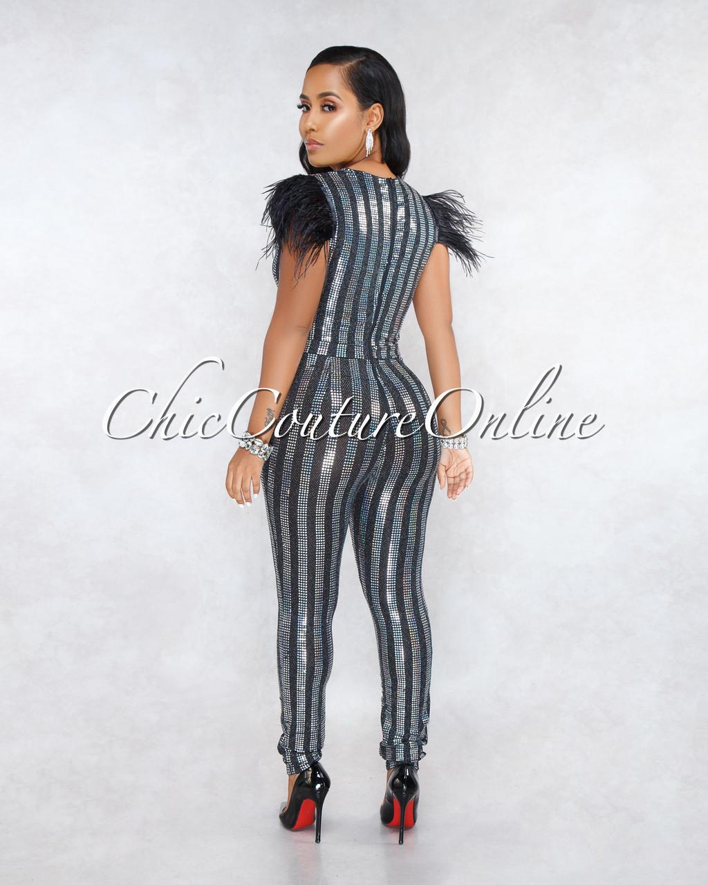 0f3b262ba7d Cassandra Black Iridescent Sequins Feather Shoulders Jumpsuit. Price    75.00. Image 1. Larger   More Photos