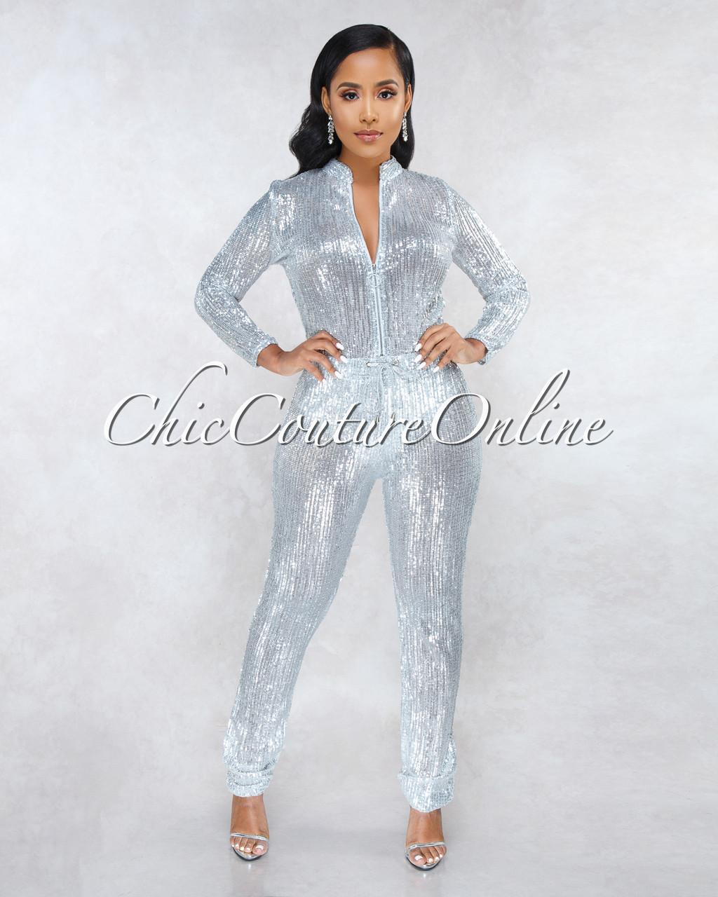 15dd18eca65 90210 Silver Sequins Jogger Jumpsuit. Price   100.00. Image 1