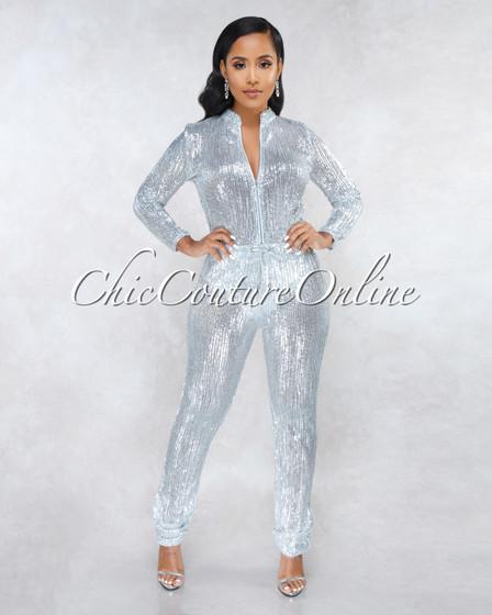 90210 Silver Sequins Jogger Jumpsuit