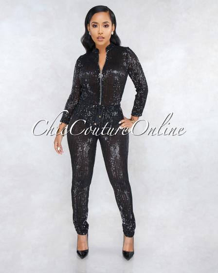 90210 Black Sequins Jogger Jumpsuit