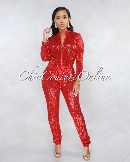 90210 Red Sequins Jogger Jumpsuit