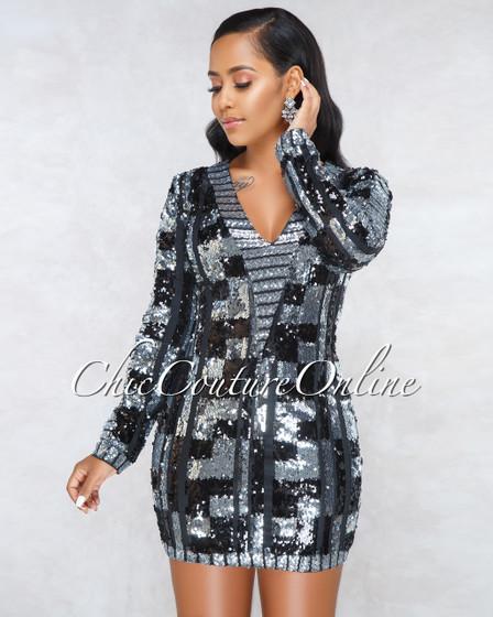 Careda Black Silver Sequins Mini Dress
