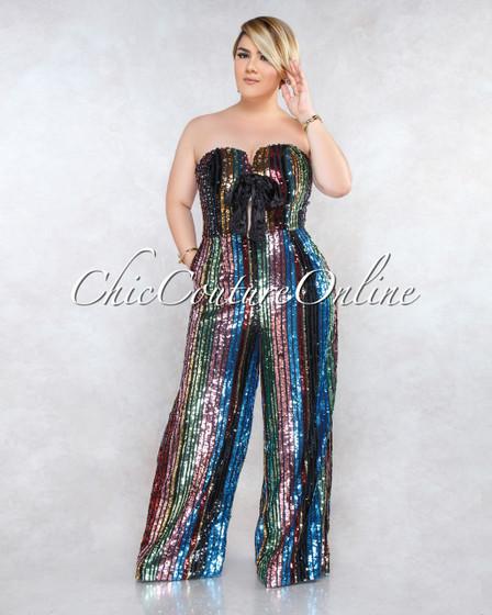 Ellison Black Multi-Color Sequins Stripes CURVACEOUS Jumpsuit