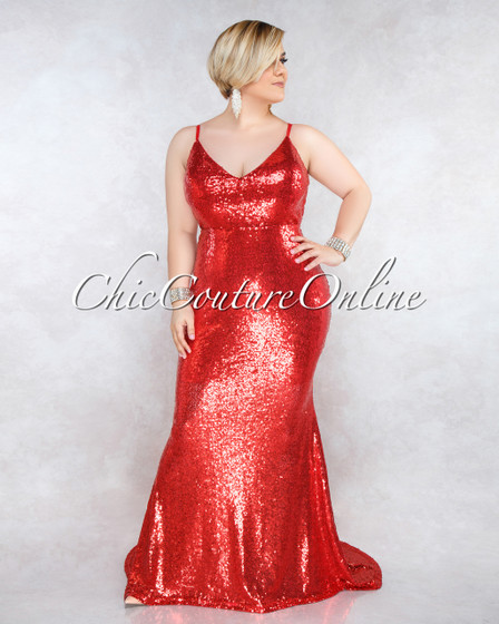 Agasi Red Sequins Open Back CURVACEOUS Gown