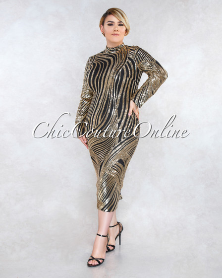 Demetria Black Gold Sequins Long Sleeves CURVACEOUS Dress